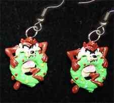 TAZ EARRINGS-BITING WREATH-Tasmanian Devil Funky Holiday Jewelry