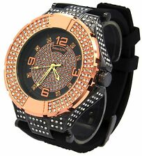 Mens Rose Gold Case  CZ Iced Out  Bling Techno King Hip Hop Wrist Watch watches