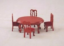 Half Scale 1/24 G Dining Table & Chairs dollhouse miniature wood 5pc set T0230A