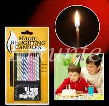1X New Magic Relighting Trick Joke Birthday Cake Party Candles Joke Kids Toy LXT