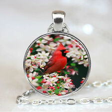 Vintage Red Bird  Cabochon Tibetan silver Glass Chain Pendant Necklace #F82