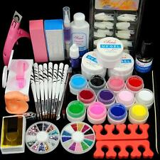 12 Color UV Gel Polish Nail Art Tips Glue Brush Manicure Tools DIY Kit Set