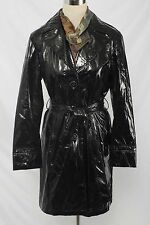 Talbots Size M Black Shiny Trench Coat Raincoat 2240 L117