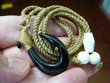 (MA-04B) Petite Black MAORI style FISH HOOK Water Buffalo horn PENDANT Necklace