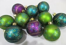 """(10) Christmas Glitter Peacock Green Teal Green Ball 2.5"""" Ornaments Decorations"""