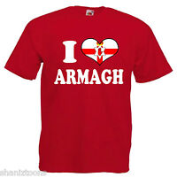 I Love Heart Armagh Adults Mens T Shirt 12 Colours Size S - 3XL