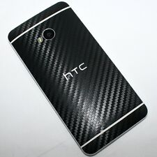 BLACK HTC ONE M7 3D Textured Carbon Fiber Vinyl Decal - 3 Piece Back Skin Cover