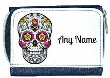 Personalised Denim Purse With Mexican/Gothic Sugar/Candy Skull