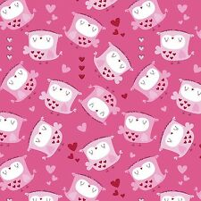 Fabric Owls Baby Tossed on Pink Flannel 1 Yard