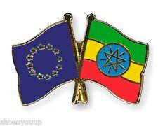 EU European Union & Ethiopia Flags Friendship Courtesy Enamel Lapel Pin Badge