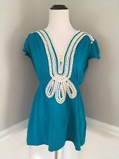 ANTHROPOLOGIE Top S Small Blue Dewbud Tunic Baraschi Lace Trim