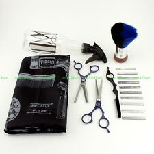 7pcs Professional Shaving Kit Hairdressing Scissor Hair Thinner Razor Brush Cape
