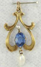 1890'S ANTIQUE ART NOUVEAU 10K GOLD BLUE GLASS & BAROQUE PEARL LAVALIERE PENDANT