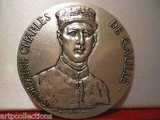 MEDAILLE BRONZE CAPITAINE CHARLES DE GAULLE CORBIN 1927 WISSANT FIL DE L'ÉPÉE