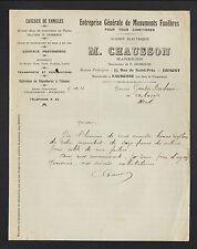 """ERMONT / EAUBONNE (95) SCIERIE MARBRERIE """"F. DESBOUIS / M. CHAUSSON Succ"""" 1913"""