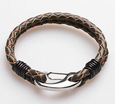 Men Unisex Genuine Braided Leather Stainless Steel Clasp Bracelet Brown B5