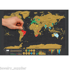 Mini Black Scrape Off World Map Poster Personalized Travel Vacation Family Gift