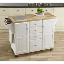 FACTORY NEW White Kitchen Island with Granite Insert Drawers Spice Rack