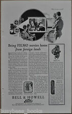 1929 Bell & Howell advertisement, FILMO Movie Camera, model 70 75 movie cameras