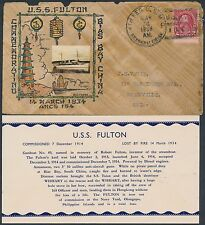 1936 USS FULTON COVER BY CROSBY HAND PAINTED OIL WOOD SHANGHAI, CHINA BS2418