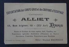 Antigua tarjeta de visita ALLIET París Aceite grasa Jardinera Sebo de vaselina
