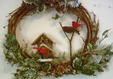 """20"""" Rustic  Country Twig Pine Cardinal Bird House Floral Home Wall Decor Sign"""