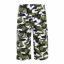 Mens Plain Shorts Elasticated Summer Cargo Combat Camouflage Three Quarter Pants