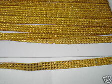 3strip GOLD iron-on hotfix rope reel rhinestone crystal