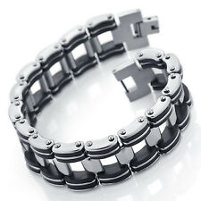 MENDINO Men's Stainless Steel Rubber Bracelet Bicycle Link Chain Black Silver