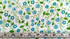 BLUE GREEN FLOWERS VINES 'MY LIL LADY' EXCLUSIVELY QUILTERS COTTON QUILT FABRIC