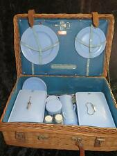 Vintage CORACLE Bandalasta Ware Picnic Set in Wicker Basket 1930s Plus Extras