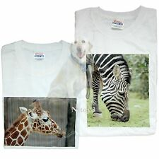 Original One of A kind Printed Photo T-shirts Giraffe & Zebra