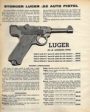 1974 LUGER .22 Automatic Pistol PRINT AD Advertising
