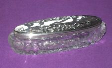 ANTIQUE EDWARDIAN 1907 STERLING SILVER GRAPE & VINE DESIGN LID GLASS PIN DISH