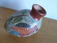 "Mexico Pottery Vase Folk Art Chickens Flowers Leaves  H  4 3/4""  L  6 1/4"""