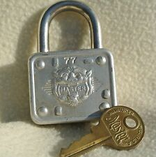 Vintage Master Lock Padlock #77 Silver Tone Rare Lion Head Embossed with Key