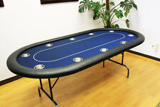 "10 Players 84"" Texas Holdem Poker Table Folding Legs Midnight Blue"