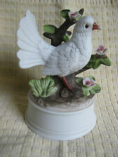 "Kimco Dove with Rose Branch Music Box Porcelain Love Story 4 ¼"" w x 5 7/8"" h"