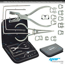 Dental Rubber Dam Kit Ainsworth Brewer Winged Rubber Dam Clamps Forceps Frame CE