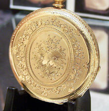 STAUFFER ANTIQUE VINTAGE C1895 SOLID 18K GOLD SMALL MANS POCKET WATCH SERVICED
