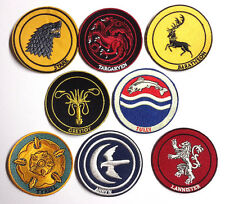 "Game of Thrones House Logo 3"" Embroidered Patch Set of 8- FREE S&H(GTPA-Set-8)"