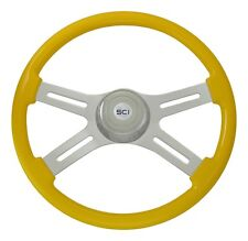 "18"" Yellow 4 Spoke Classic Steering Wheel 3-Hole for Freightliner, Peterbilt, KW"