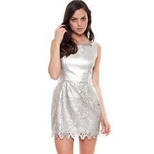 Seduce Metallic Silver Faux Leather Evening Dress Size 12 Brand New