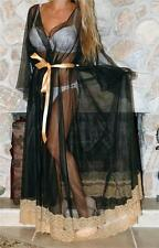 XXL TALL BLACK SWEEPING VINTAGE SLIP CHIFFON NEGLIGEE LINGERIE NIGHT GOWN