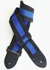 Acoustic Electric Guitar Strap for Kids and Adults. Adjustable Nylon Black/Blue