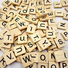 100x Wooden Alphabet Scrabble Tiles Black Letters & Numbers High Quality Craft