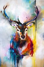 STAG DEER WATERCOLOUR ART IMAGE A4 Poster Laminated Gloss Print (New)