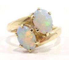 14k Solid Gold Opal Ring Two Stones Beautiful & Simple Design Can be Sized