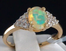 1.05ct Genuine Ethiopian Opal Solitaire with Accents 10k Solid Gold Ring, Size 8