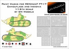 Paint Camo Masks 1/16 RENAULT FT-17 Camoufage and Insignia by DN Models